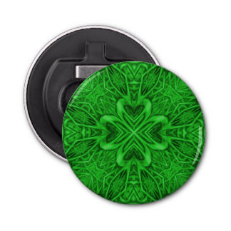 Celtic Clover Kaleidoscope  Magnetic Bottle Opener Button Bottle Opener