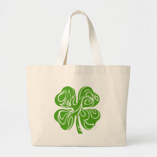 Celtic clover large tote bag