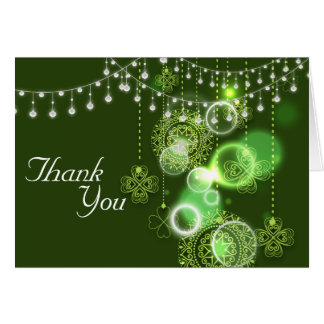 Celtic Clovers Green and White Irish Thank You Card