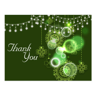 Celtic Clovers Green and White Irish Thank You Postcard
