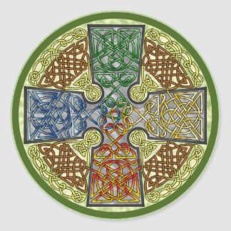Celtic Cross 4-Color Round Sticker