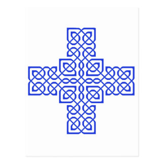 Celtic Cross 6 Blue Postcard