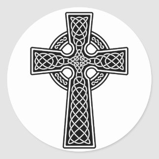 Celtic Cross black and white Round Sticker
