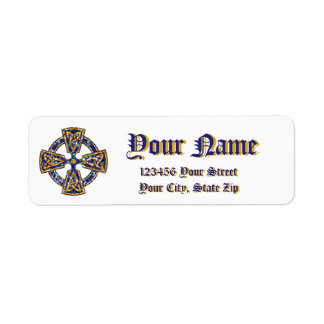 Celtic Cross Blue and Gold Return Address Label