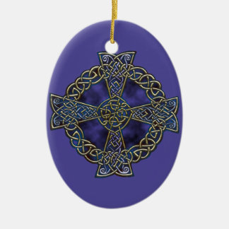 Celtic Cross Ceramic Oval Ornament
