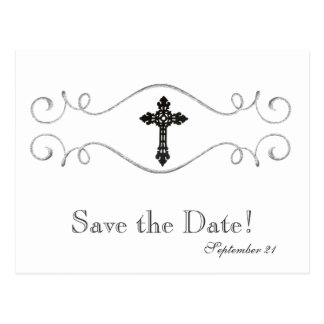 Celtic Cross Christian Save the Date Postcard