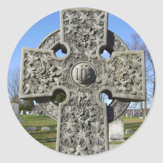 celtic cross  classic round sticker