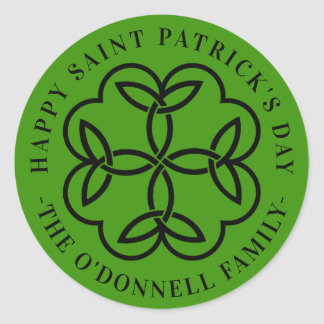 Celtic Cross Clover Saint Patrick's Day Classic Round Sticker
