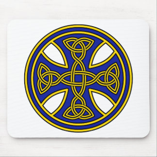 Celtic Cross Double Weave Blue Mouse Pad