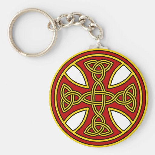 Celtic Cross Double Weave Red Keychains