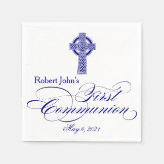 Celtic Cross First Communion Personalized Napkin Disposable Napkins