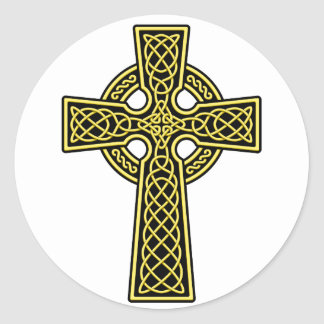 Celtic Cross gold and black Round Sticker