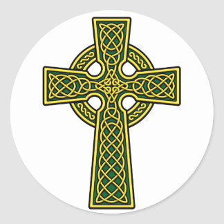 Celtic Cross gold and green Round Sticker