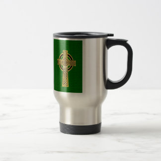 Celtic Cross, gold and green Travel Mug