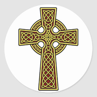 Celtic Cross gold and red Round Sticker