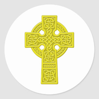 Celtic Cross gold Classic Round Sticker