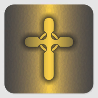 Celtic Cross (gold) Square Sticker