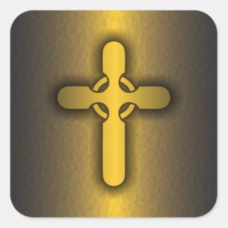 Celtic Cross (gold) Square Sticker