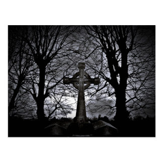 Celtic cross grave postcard