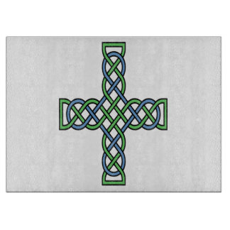 Celtic Cross (Green and Blue) Cutting Board