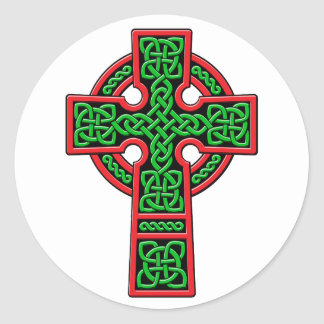 Celtic Cross green and red Round Sticker