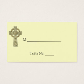 Celtic Cross in Gold Ivory Wedding Place Cards