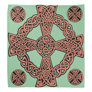Celtic cross mint green peach knot bandanna