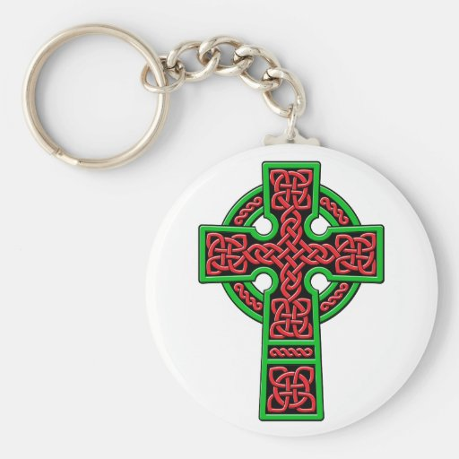 Celtic Cross red and green Keychains