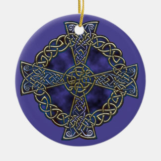 Celtic Cross Round Ceramic Ornament
