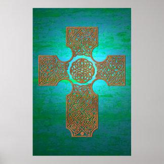 Celtic Cross: Rust on Teal Poster