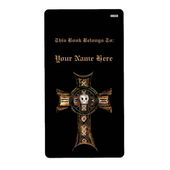 Celtic Cross & Skull (Gold) (Bookplate)