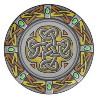 Celtic cross steel and leather dinner plate