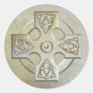 Celtic Cross (stone) Classic Round Sticker