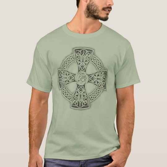 Celtic Cross Stone Green Irish T-Shirt