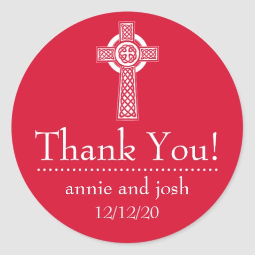 Celtic Cross Thank You Labels (Red / White) Stickers