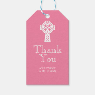 Celtic Cross Thank You Tag - PINK Pack Of Gift Tags