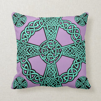 Celtic cross turquoise lavender knot throw pillow
