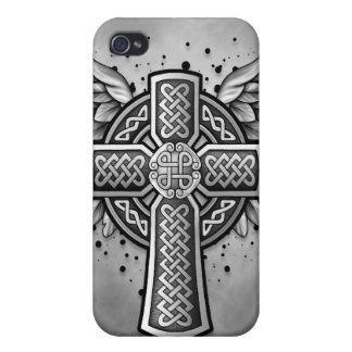 Celtic Cross With Wings (black & grey) Case For The iPhone 4