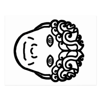 Celtic curly haired face postcard