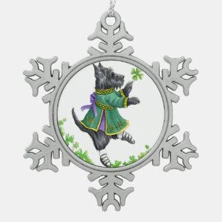 Celtic dancing Scottie Snowflake Pewter Christmas Ornament