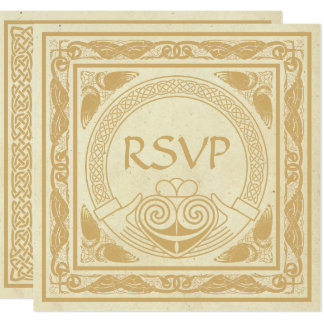 Celtic Design With Claddagh Wedding RSVP Card