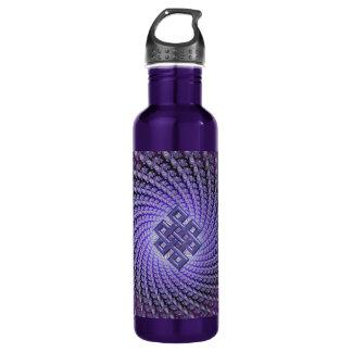 Celtic Diamond Purple Spiral Fractal Water Bottle