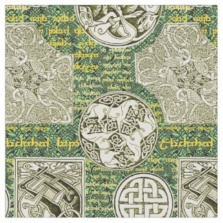 Celtic Dogs and Horses in Green and Gold Fabric
