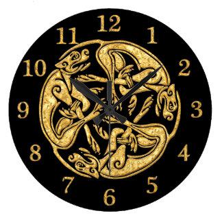 Celtic dogs gold traditional ornament digital art wall clocks