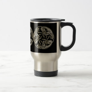 Celtic dogs traditional ornament gold and silver travel mug