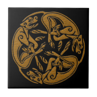 Celtic dogs traditional ornament wooden look tile