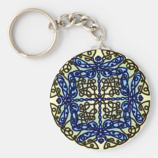 Celtic Dragonflies Blue Keychain