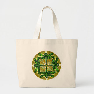 Celtic Dragonflies Green Large Tote Bag