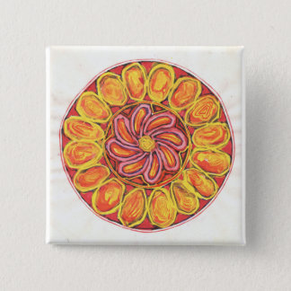 CELTIC FLOWER 2 INCH SQUARE BUTTON