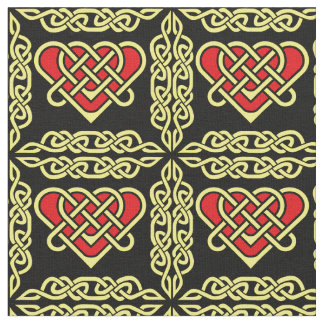 Celtic/Gadhlig braided design heart gold Fabric